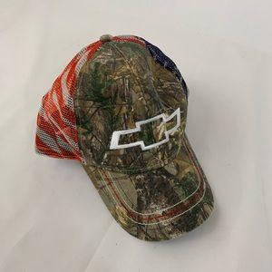 Chevy Camo Snapback Hat Mesh Back Patriotic Cap